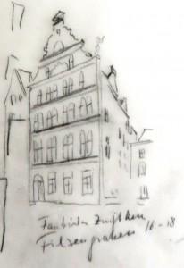 Colonia_Stadtmodell_von_Theo_Giesen_Haus_Filzengraben_Fassbinder-Zunfthaus_16-18_Bleistift_auf_Pergamentpapier