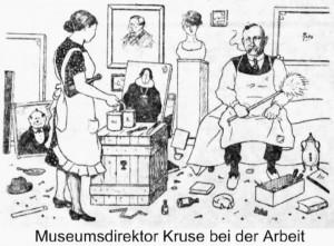Der_erste_Muelheimer_Museumsdirektor_Werner_Kruse_bei_der_Arbeit_Werk_von_Hermann_Isaak_Haber_Karrikatur_aus_Muelheimer_Zeitung