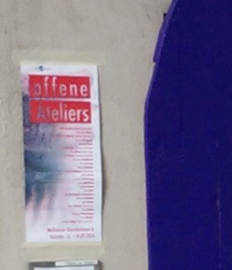Ankündigung OFFENE ATELIERS 2014 in der Kunststadt Mülheim an der Ruhr Plakatgestaltung von Peter Helmke 13. bis 14. September 2014