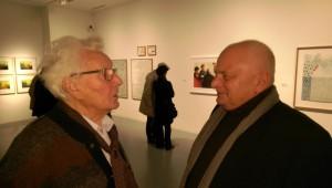 Ernst Rasche (li.) bei der Ausstellung Mülheimer Kunstschaffender 2016 mit dem Künstler Manfred Dahmen, der heute im ersten Atelier von Ernst Rasche in der Ruhrstraße 3 in der Kunststadt Mülheim arbeitet