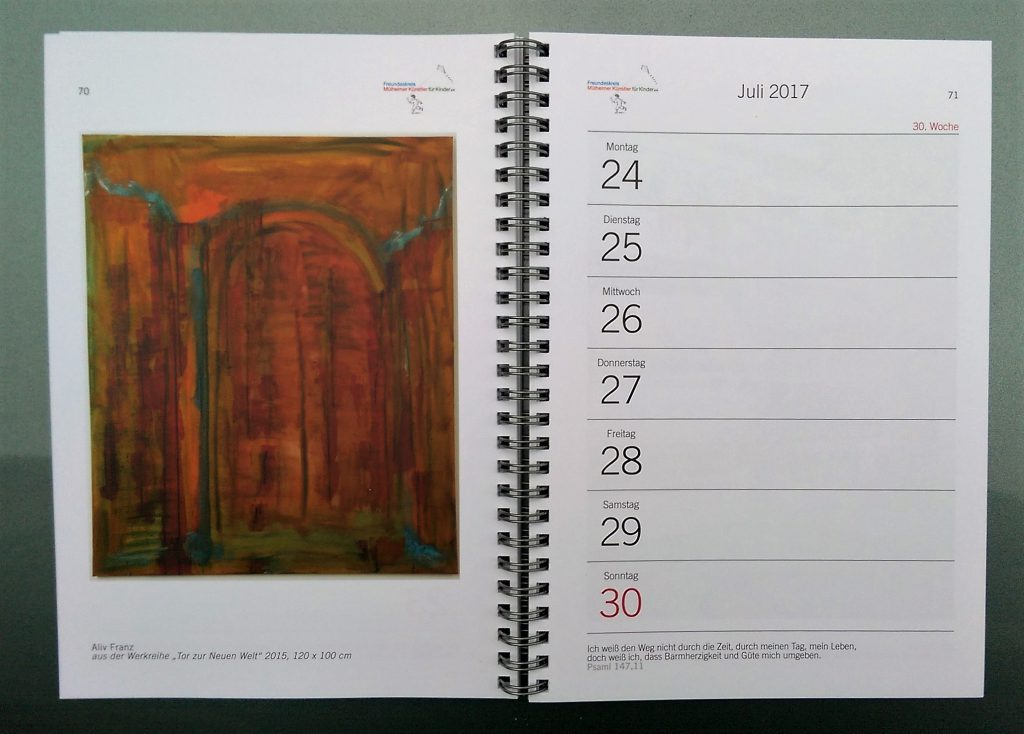 Beitrag zum Wochenkalender 2017 Mülheimer Künstler für Kinder Titel