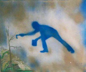 Malerie von Alesio Milano, überarbeitet von Aliv Franz mit einer Pollock-Schablone von Klaus Wiesel in der Sammlung der Galerie an der Ruhr, Mülheim