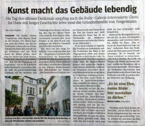 Kunstort in der kleinsten Ruhrgebietsstadt Mülheim an der Ruhr Artikel aus der WAZ und NRZ. Sept.2017