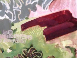 """Das """"rote Sofa"""" in einer der Arbeiten von Ruth Kretzmann"""