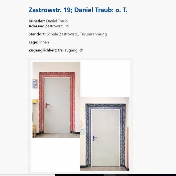 Kunstrettung im öffentlichen Raum in der Kunststadt Mülheim an der Ruhr Heute: die Türlaibungen in der Brüder-Grimm-Schule in Styrum geschaffen von Daniel Traub