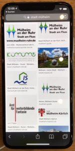 """Abfrage """"Stadt Mülheim"""" im Internet - auch hier erscheint sofort das Logo """"Amt für weiterbildende Fantasie"""""""
