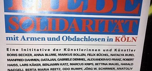 Ankündigungsplakat zur Benefiz-Ausstellung im Atelierhaus Alteburger Wall 1 in der Stadt Köln - 13. bis 25. November 2018