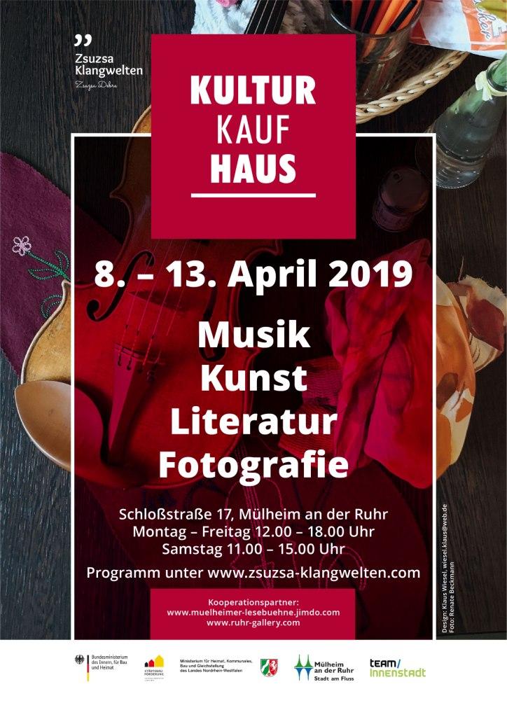 Mülheim-Innenstadt bekommt ein Kultur(kauf)haus – ab 8. April 2019 in der Schlossstraße 17 (Fußgängerzone)
